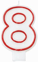 "3"" Number 8 Candle Red Outline"