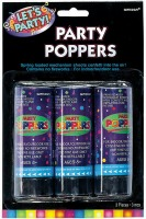 "4"" Confetti Poppers Pack of 3"