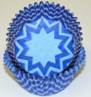 """1.25"""" X 2"""" Chevron Light Blue and Blue Baking Cups 500 Count"""