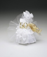 50th Anniversary Ornament  7 Inches White and Gold