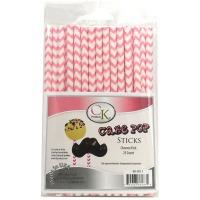 "6"" Cake Pop Sticks Chevron Pink"