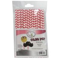 "6"" Cake Pop Sticks Chevron Red"