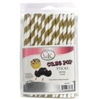 """6"""" Cake Pop Sticks Gold Stripe"""