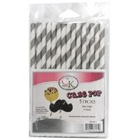 "6"" Cake Pop Sticks Silver Stripe"