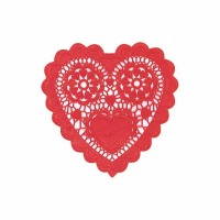 "6"" Heart Doilies Red"