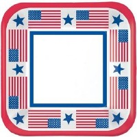 "7"" SQ Patriotic Plates 40 CT"