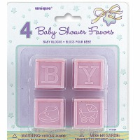 "Baby Blocks 1"" Pink 4 CT"