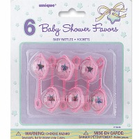 "Baby Rattles 2-1/2"" Pink 6 CT"