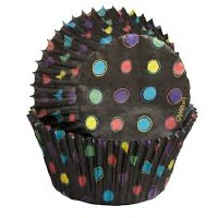 Baking Cup Black With Neon Dots 75 CT