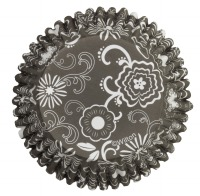 Baking Cup Black & White Flower