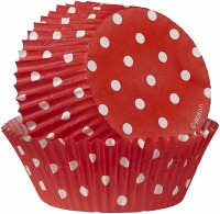 Baking Cup Red w/ Dots 75 Count