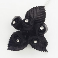 Black Satin Flower Rhinestone