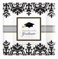 "Black & White Graduation 10"" Square Plate 18CT"