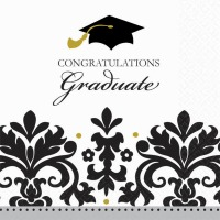 Black & White Grad Bev Napkin 36 CT