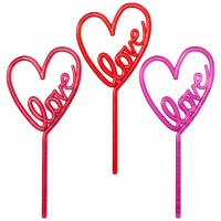 Cake Picks Neon Heart Assortme