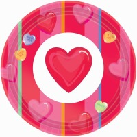 "Candy Hearts 7"" Plates 12 CT"