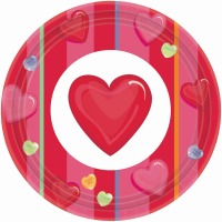 "Candy Hearts 9"" Plates 12 CT"