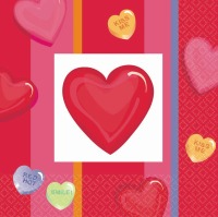 Candy Hearts Beverage Napkin 30 CT