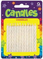 Candy Stripe Candle White 24CT