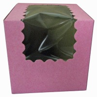 Cupcake Box with Window 4X4X4 Srawberry
