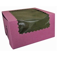 Cupcake Box with Window 8X4X4 Strawberry