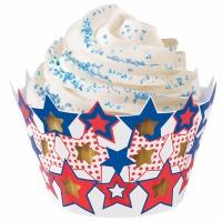 Cupcake Wrap Patriotic Stars 18 CT