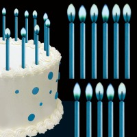 Color Flame Blue Candles 12 CT
