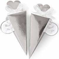Cone Favor Box Kit Silver