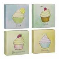 Cupcake Canvas Plaque Set of 4