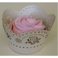 Cupcake Wrap Ivory Rose 12 CT