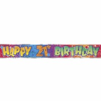 Foil Banner Happy 21st Birthday