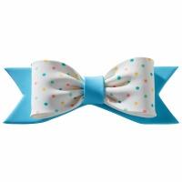 Gum Paste Bow Pastel Dots Blue