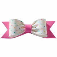 Gum Paste Bow Pastel Dots Pink
