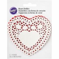 """Heart Doilies 4"""" Asst Pk 12 CT"""