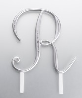 Monogram Silver Rhinestone R
