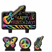 Neon Birthday Candle Set of 4