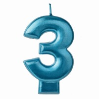 Numeral Candle Blue #3