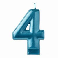 Numeral Candle Blue #4
