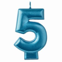 Numeral Candle Blue #5