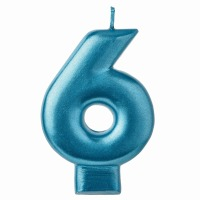 Numeral Candle Blue #6