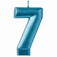 Numeral Candle Blue #7