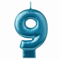 Numeral Candle Blue #9