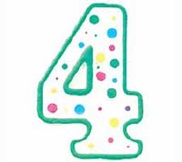 Numeral Candle Green #4
