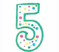 Numeral Candle Green #5