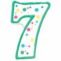 Numeral Candle Green #7