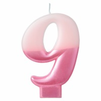 Numeral Candle Pink #9