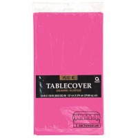 "Plastic Tablecover 54""X108"" Bright Pink"