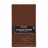 "Plastic Tablecover 54""X108"" Chocolate Brown"