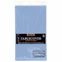 "Plastic Tablecover 54""X108"" Pastel Blue"