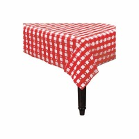 "Plastic Tablecover 54""X108"" Red Gingham"
